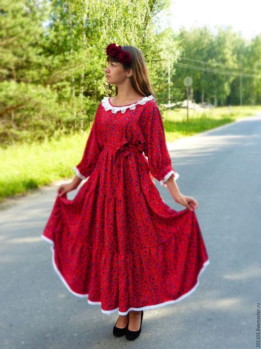 """Платья ручной работы. Ярмарка Мастеров - ручная работа. Купить ПЛАТЬЕ """"АЛЫЕ ПАРУСА"""". Handmade. Ярко-красный, платье из штапеля"""