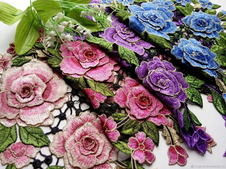 Аппликация вышитая с 3D цветами и люрексом, набор 3 шт, Аксессуары для вышивки, Вологда,  Фото №1