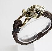 Украшения handmade. Livemaster - original item Bracelet braided: Leather bracelet with Wolf. Handmade.