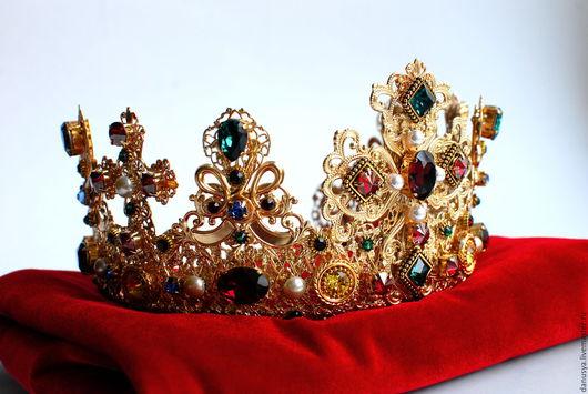 """Диадемы, обручи ручной работы. Ярмарка Мастеров - ручная работа. Купить Свадебная корона """" Anna"""" и серьги.. Handmade. Корона"""