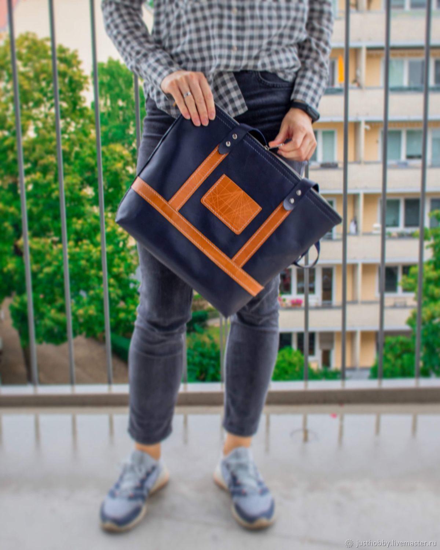 Сумка шоппер синяя из натуральной кожи, Сумка-шоппер, Симферополь,  Фото №1