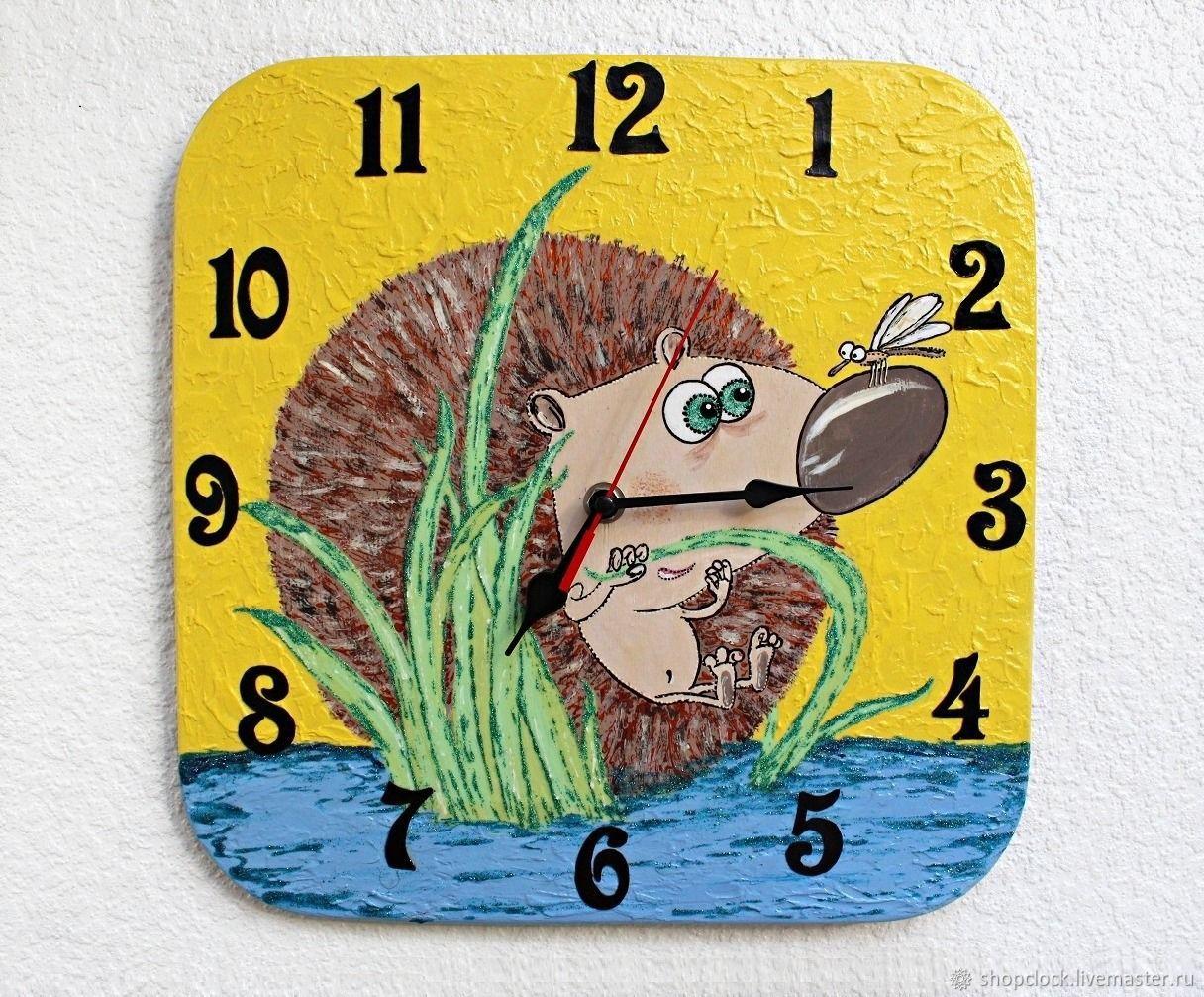 Hedgehog wall clock, clock, handmade baby, Watch, Novosibirsk,  Фото №1