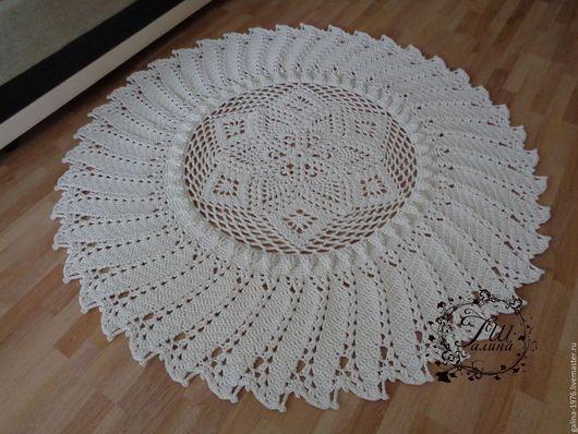 """Текстиль, ковры ручной работы. Ярмарка Мастеров - ручная работа. Купить Вязаный ковер """"Восхищение"""". Handmade. Белый, крючком, объем"""