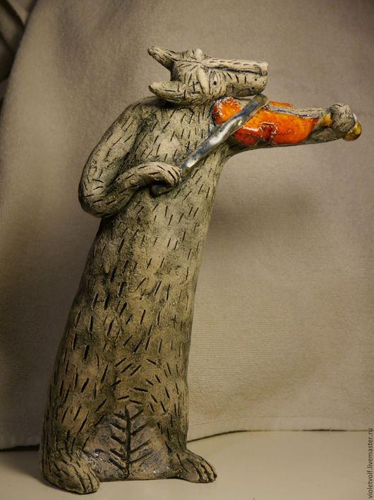 Персональные подарки ручной работы. Ярмарка Мастеров - ручная работа. Купить Волк-скрипач. Handmade. Подарок на любой случай