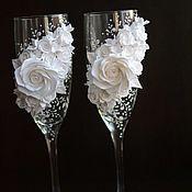 Свадебный салон handmade. Livemaster - original item Wedding champagne glasses White classic. Handmade.