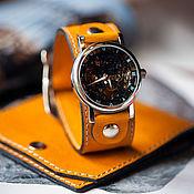 handmade. Livemaster - original item Mechanical wrist watch Yellow Belts skeleton on a wide belt. Handmade.