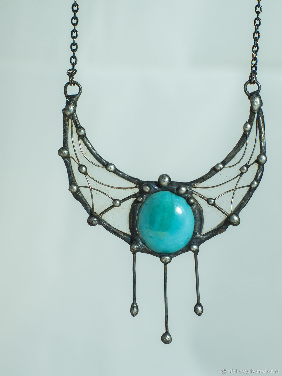 Lunnitsa - suspension. Three tears of the turquoise Cyclops (pl-026), Pendants, St. Petersburg,  Фото №1