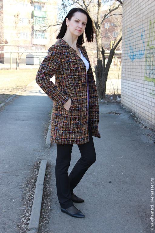 Верхняя одежда ручной работы. Ярмарка Мастеров - ручная работа. Купить Легкое пальто. Handmade. Разноцветный, ручная работа