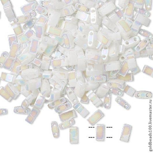 Для украшений ручной работы. Ярмарка Мастеров - ручная работа. Купить MIYUKI Half-Tila 471 opaque rainbow white pearl. Handmade.