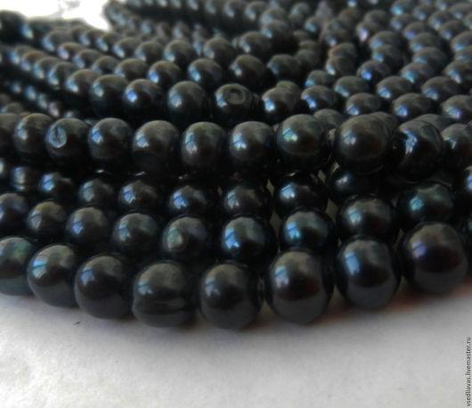 Для украшений ручной работы. Ярмарка Мастеров - ручная работа. Купить Жемчуг натуральный 5-6 мм черный. Handmade.