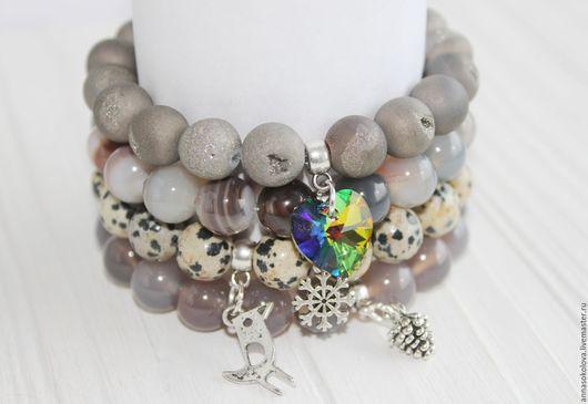 """Браслеты ручной работы. Ярмарка Мастеров - ручная работа. Купить Комплект браслетов """"Rainbow heart"""". Handmade. Серый, подарок девочке"""