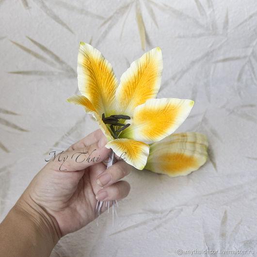 Лепестки лилии малые оранжево-зеленые My Thai Малбери флористика из Таиланда