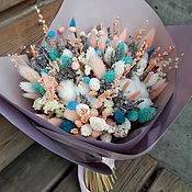 Композиции ручной работы. Ярмарка Мастеров - ручная работа Бирюзово зефирный букет из сухоцветов. Handmade.