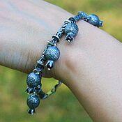 Украшения handmade. Livemaster - original item Garnet chain bracelet in 925 sterling silver with hand-minted VA0009. Handmade.