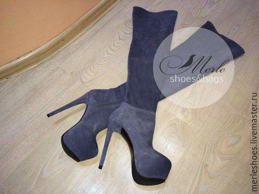 Обувь ручной работы. Ярмарка Мастеров - ручная работа. Купить Ботфорты серый натуральный замш 15см. Handmade. Ярко-красный