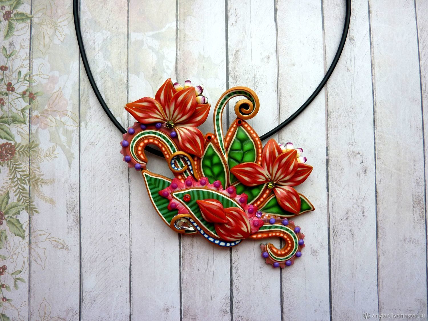 Necklace Polymer Clay Lotus Shop Online On Livemaster With