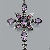 Украшения handmade. Livemaster - original item Silver cross with amethysts. Handmade.