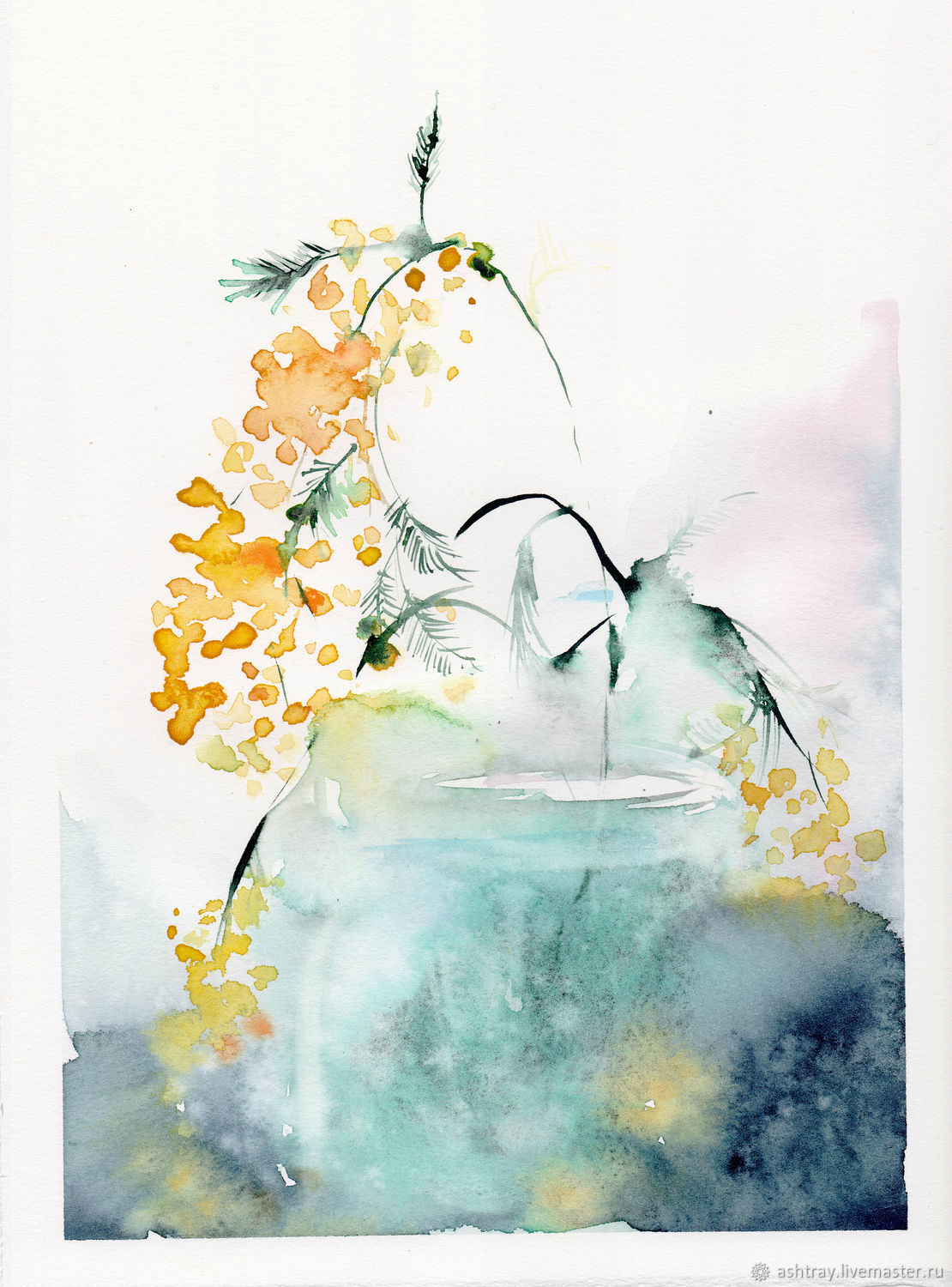 'Mimosa' watercolor painting (yellow, painting with flowers), Pictures, Korsakov,  Фото №1