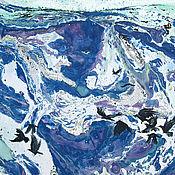Картины и панно handmade. Livemaster - original item Still in the fields the snow is white. graphics. Mixed media.. Handmade.