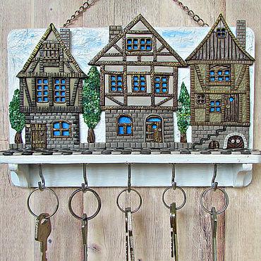 For home and interior handmade. Livemaster - original item Housekeeper: Housekeeper Alpine City 2.The housekeeper wall.. Handmade.
