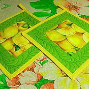 """Для дома и интерьера ручной работы. Ярмарка Мастеров - ручная работа Прихватки лоскутные """"Лимоны"""". Handmade."""