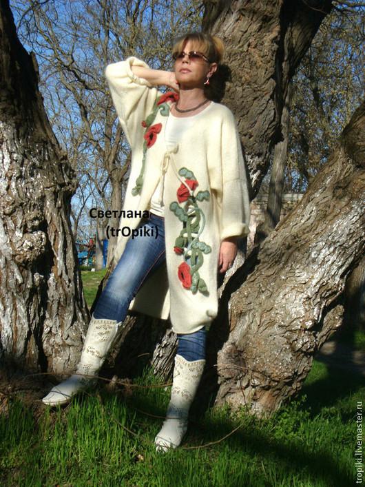 """Верхняя одежда ручной работы. Ярмарка Мастеров - ручная работа. Купить """"Маковая сказка-2"""" вязаное пальто авторское. Handmade."""