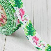 Материалы для творчества handmade. Livemaster - original item Flamingo turnip ribbon color green/pink. Handmade.