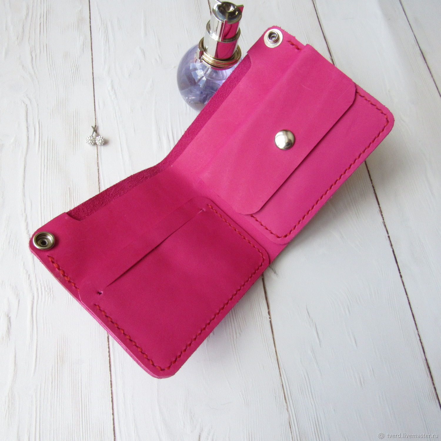 b6a6a87f6b1e3c Wallet Woman Ladies Wallet Pink Leather Wallet Handmade Leather