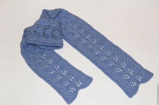 Шарфы и шарфики ручной работы. Ярмарка Мастеров - ручная работа. Купить Вязаный шарф с узором из листочков. Handmade. Голубой