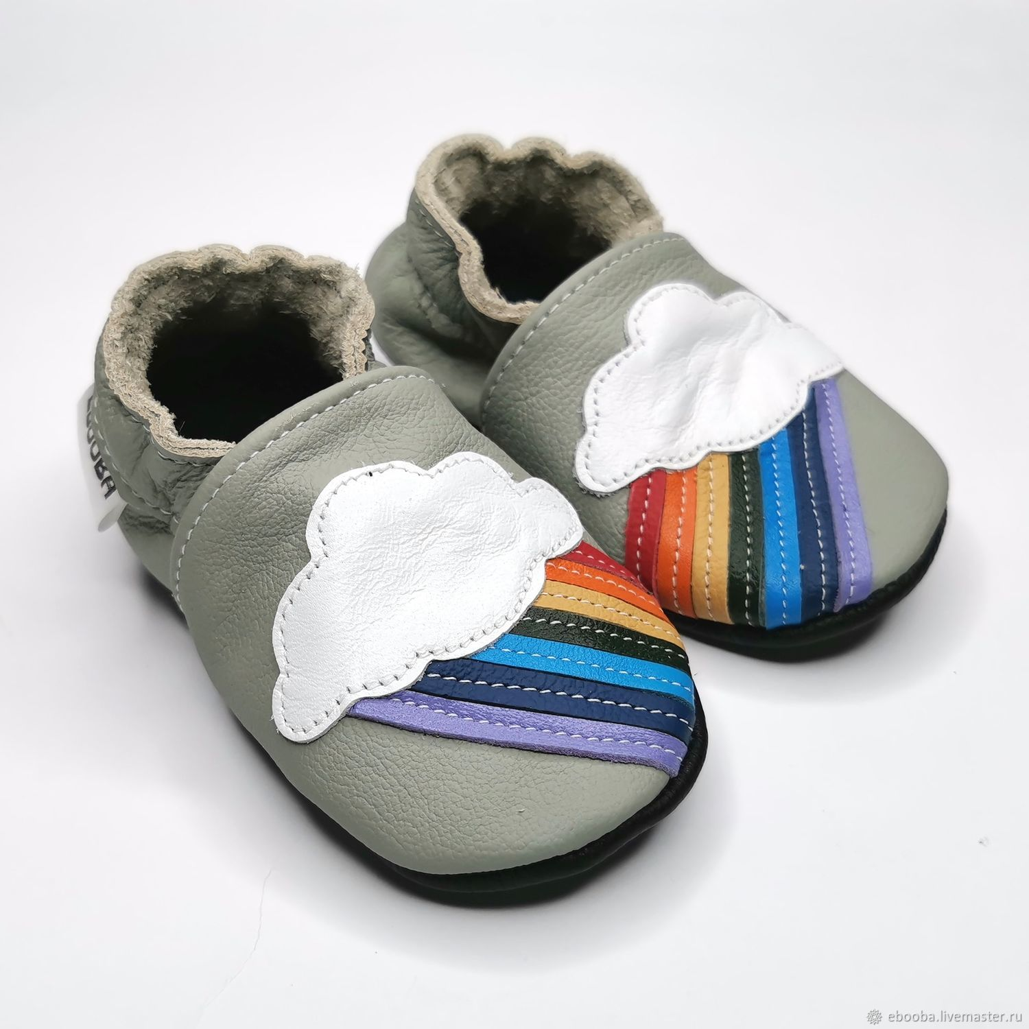 Baby shoes Rainbow, Gray baby slippers, Kids Slippers, Ebooba, Footwear for childrens, Kharkiv,  Фото №1