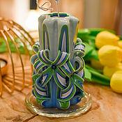 Свечи ручной работы. Ярмарка Мастеров - ручная работа Cвеча красивая, Свеча подарок, Свечи синяя, Свеча резная. Handmade.