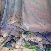 Материалы для творчества ручной работы. Ярмарка Мастеров - ручная работа Палантин шелк шифон  натуральный Белые кувшинки. Handmade.