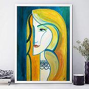 Картины и панно handmade. Livemaster - original item The girl who sings. Stylized portrait. Painting acrylic. Handmade.