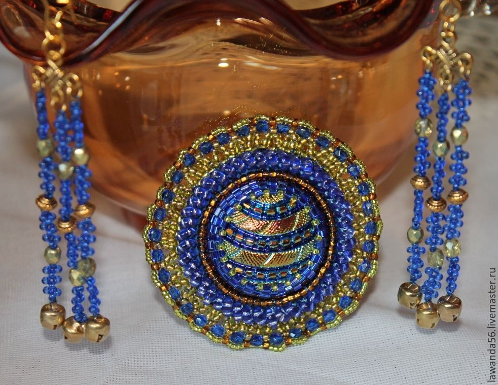 Brooch and earrings from beads of Saturn's Rings, Brooches, Krasnoyarsk,  Фото №1