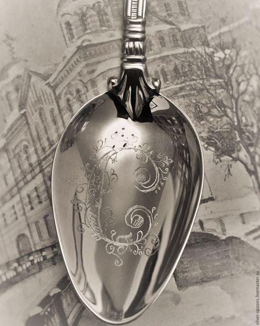 Подарки для новорожденных, ручной работы. Ярмарка Мастеров - ручная работа. Купить Серебряная десертная ложка АМПИР (малая) с гравировкой буквы С. Handmade.