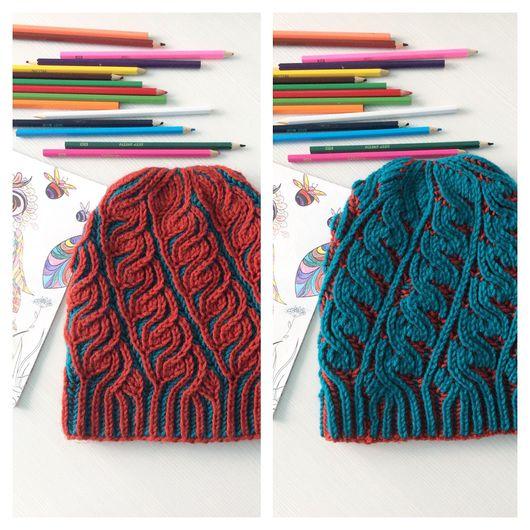Шапки ручной работы. Ярмарка Мастеров - ручная работа. Купить Двухсторонняя шапка в стиле Brioche stitch. Handmade. Бриошь