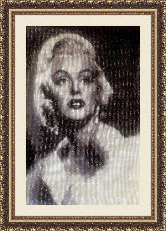 Люди, ручной работы. Ярмарка Мастеров - ручная работа. Купить Гобелен из бисера  МЕРЛИН МОНРО (Marilyn Monroe). Handmade.