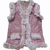 Одежда handmade. Livemaster - original item Women`s vest made of sheepskin and tuscany pink. Handmade.