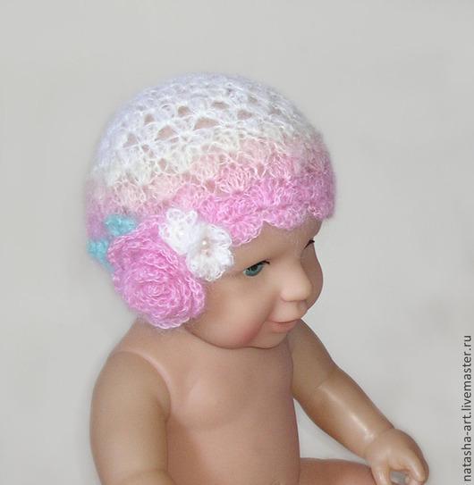Для новорожденных, ручной работы. Ярмарка Мастеров - ручная работа. Купить Три шапочки с букетами для фотосессии новорожденных. Handmade.
