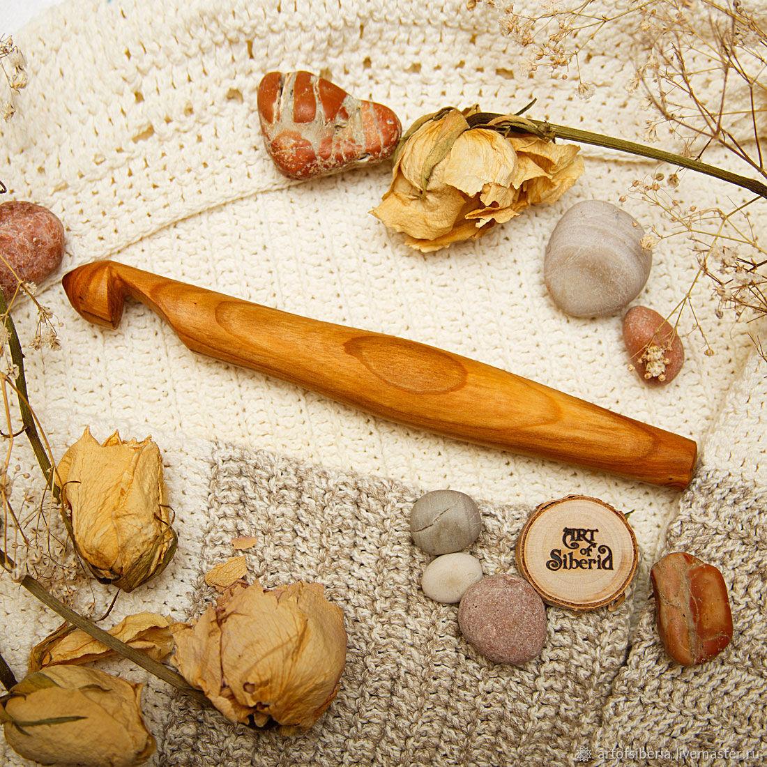 Большой Деревянный Крючок для вязания 19мм Вишня Крючки из дерева #K64, Инструменты, Новокузнецк, Фото №1