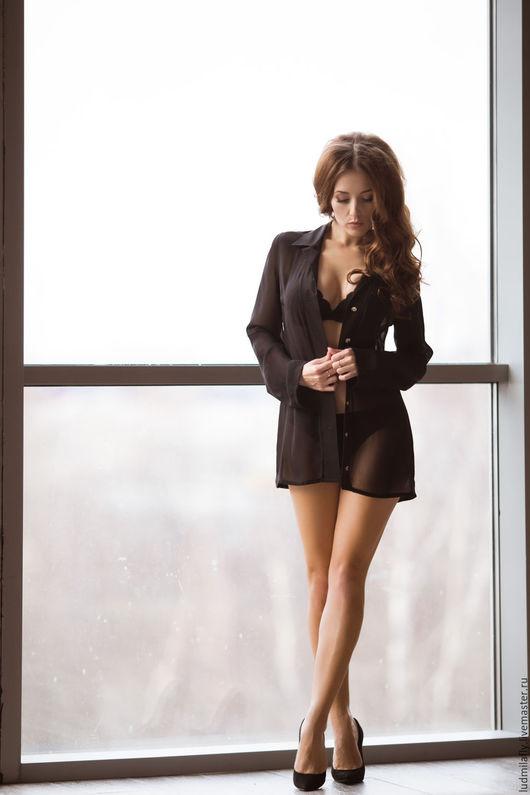 Блузки ручной работы. Ярмарка Мастеров - ручная работа. Купить Черная рубашка в мужском стиле. Handmade. Черный, сексуальная рубашка