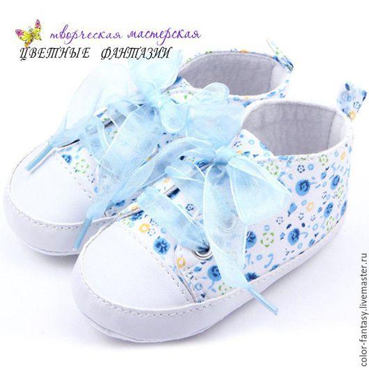 """Куклы и игрушки ручной работы. Ярмарка Мастеров - ручная работа. Купить Ботиночки для куклы """"Голубые цветы"""". Handmade. Обувь"""