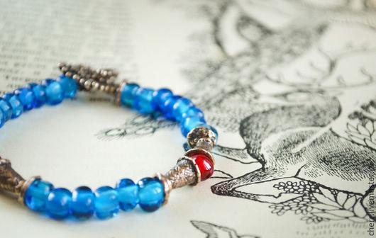 Браслеты ручной работы. Ярмарка Мастеров - ручная работа. Купить Анвайя - браслет лэмпворк. Handmade. Синий, lampwork, Авторская фурнитура
