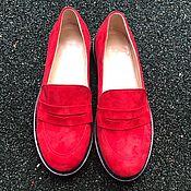 Обувь ручной работы handmade. Livemaster - original item Loafers View red suede black smooth sole. Handmade.