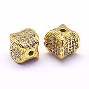 Бусины ручной работы. Ярмарка Мастеров - ручная работа Бусина куб вогнутый 8х8 мм 2 цвета. Handmade.