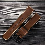 Украшения handmade. Livemaster - original item Watchband leather 18/20/22/24 mm calf leather brown. Handmade.