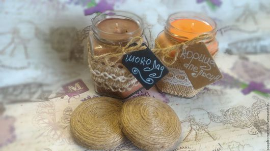 Свечи ручной работы. Ярмарка Мастеров - ручная работа. Купить Соевые (ароматизированные) свечи в баночках. Handmade. Комбинированный, подарок подруге