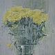 Картины цветов ручной работы. Ярмарка Мастеров - ручная работа. Купить желтые цветы. Handmade. Серый, лимонный цвет, цветы