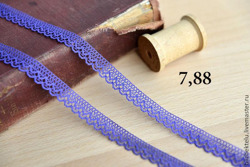 Кружево фиолетовый Хлопок -1 см . Арт. 7,88, Кружево, Москва, Фото №1