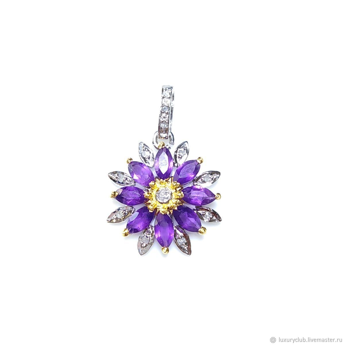 Pendant 'Azalea' diamonds amethyst buy, Pendants, Tolyatti,  Фото №1